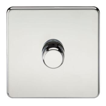 Screwless Polished Chrome Dimmer Light Switch - Single 1 Gang 2 Way 10-200w (LED 5W-150W)