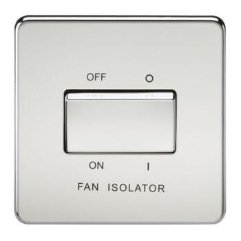 Screwless Polished Chrome Fan Isolator Switches - 10A 3 Pole Fan Isolator Switch