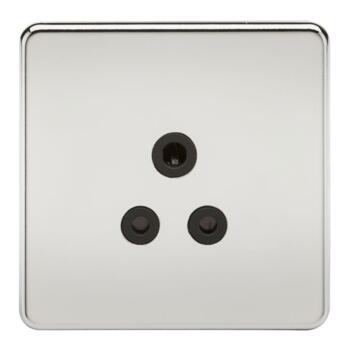 Screwless Polished Chrome 5A Unswitched Sockets - 5A Unswitched Socket With Black Insert