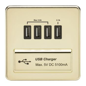 Screwless Polished Brass Single Quad USB Charger - With Black Interior