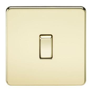 Screwless Polished Brass Light Switch - Single 1 Gang 2 Way