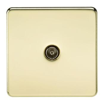Screwless Polished Brass TV Satellite Media Socket - 1 Gang TV Outlet - Non Isolated