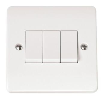 Mode Triple Light Switch 10AX 3 Gang 2 Way  - White