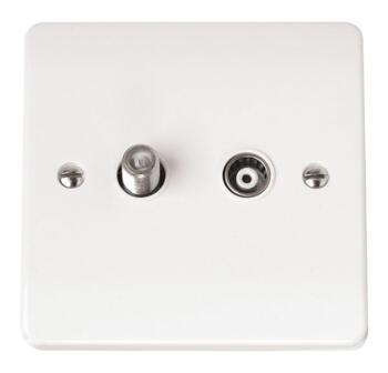 Mode TV and Satellite Socket Outlet - White