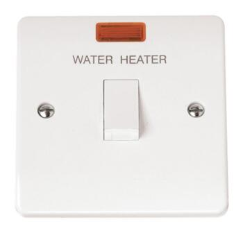 Mode 20A DP Water Heater Switch with Neon  - White