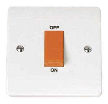 Mode 45A 1 Gang DP Cooker Switch - White