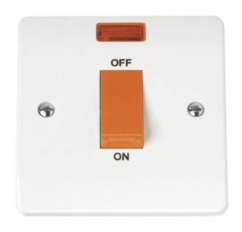 Mode 45A 1 Gang DP Cooker Switch with Neon - White