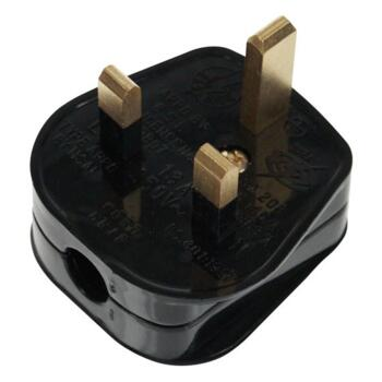 3A Plug Top - Standard Rewireable - Resilient - Black With 3A Fuse