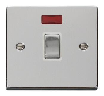 Polished Chrome 20A DP Switch Neon/No Flex Ingot - With White Interior