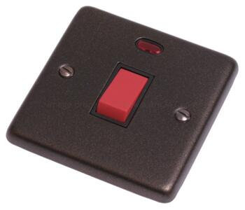 Graphite 45A DP Switch with Neon - 1 Gang  - With Black Interior