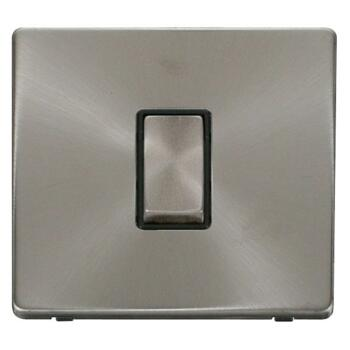 Screwless Brushed Steel Light Switch Single Ingot - With Black Interior