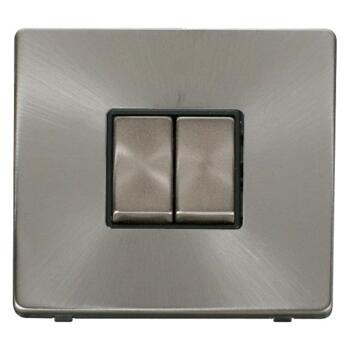 Screwless Brushed Steel Light Switch Double Ingot - With Black Interior