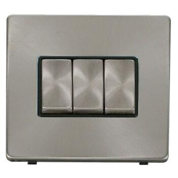 Screwless Brushed Steel Light Switch Triple Ingot - With Black Interior