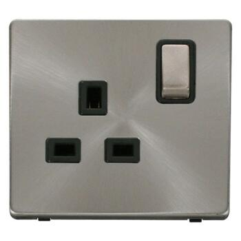 Screwless Brushed Steel Single Socket 13A Ingot - With Black Interior