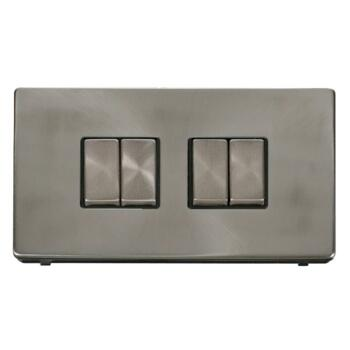 Screwless Brushed Steel Light Switch 4 Gang Ingot - With Black Interior