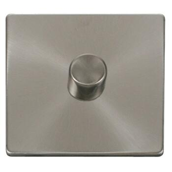 Screwless Brushed Steel Dimmer Switch  - Single 1 x 400w