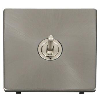Screwless Brushed Steel Light Switch Single Toggle - Pearl Nickel Toggle with Brushed Steel Plate