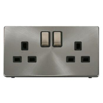 Screwless Brushed Steel Double Socket 13A Ingot - With Black Interior