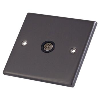 Black Nickel Co-Axial Television Socket - 1 Gang Single TV