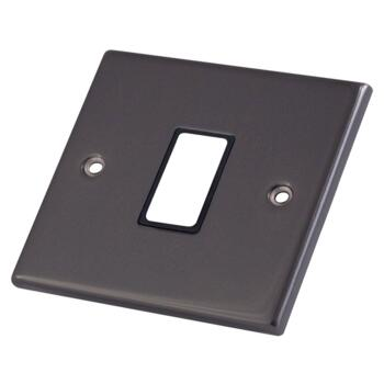 Black Nickel Build Your Own Light Switch - 1 Gang Single Empty plate