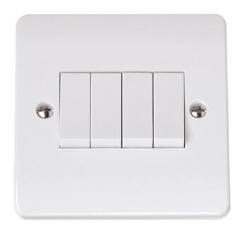 Mode White 4 Gang Light Switch On Single Plate - White