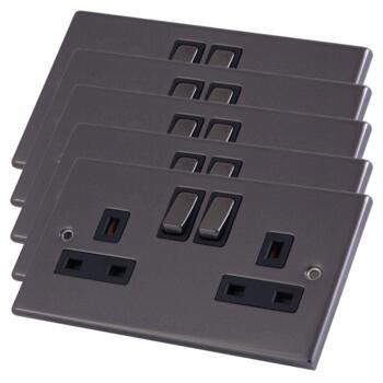 Black Nickel Double Socket DP - Pack of 5 @ £6.98 each