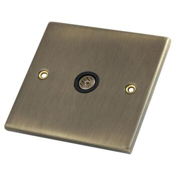 Antique Brass Co-Axial Television Socket - 1 Gang Single TV