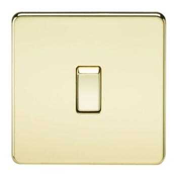 Screwless Polished Brass 20 Amp Switches - 1 Gang DP Switch