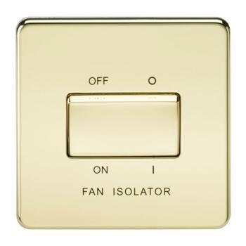 Screwless Polished Brass Fan Isolator Switches - 10A 3 Pole Fan Isolator Switch