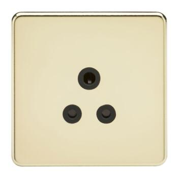 Screwless Polished Brass 5A Unswitched Sockets - 5A Unswitched Socket With Black Insert
