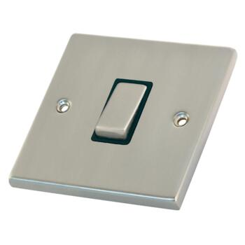 Satin Chrome Light Switch - 1 Gang 2 Way Single