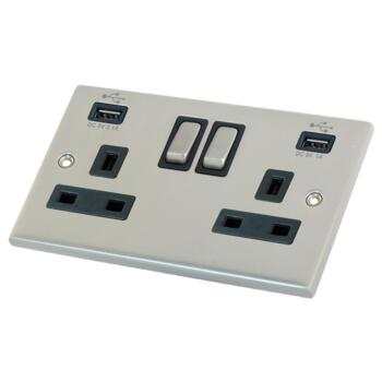 Satin Chrome Double Socket With USB Charger - 2 Gang With USB