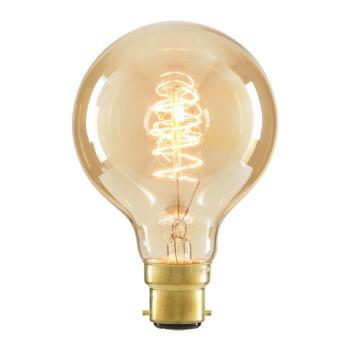 40w Vintage Filament Light Bulb G80  - BC B22 Tinted