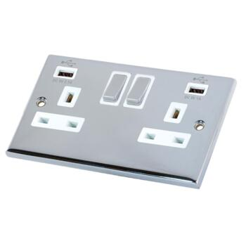 Polished Chrome Double Socket With USB Charger - 2 Gang With USB