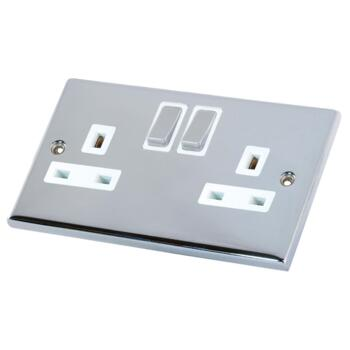 Polished Chrome Double Socket DP - 1 Piece