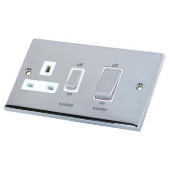Polished Chrome Cooker Control Switch & Socket  - Without Neon