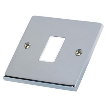 Polished Chrome Build Your Own Light Switch  - 1 Gang Single Empty plate