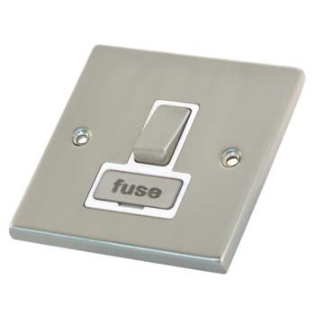 Satin Chrome & White 13A Fused Spur Connection Unit - Switched