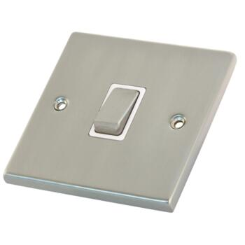 Satin Chrome & White 20A DP Isolator Switch - Without Neon