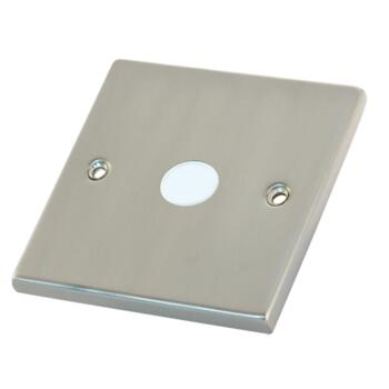 Satin Chrome & White 20A Flex Outlet Connection Plate - 1 Gang Single