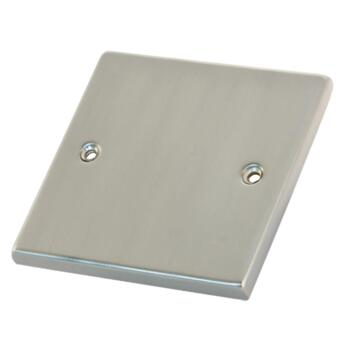 Satin Chrome & White Blank Plate - 1 Gang Single