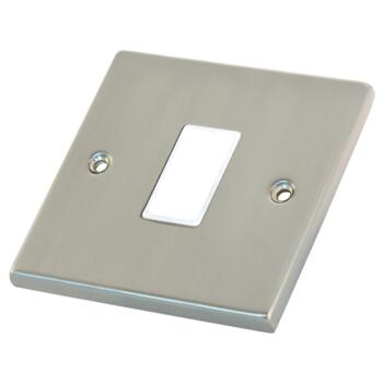 Satin Chrome & White Build Your Own Light Switch - 1 Gang Single Empty plate