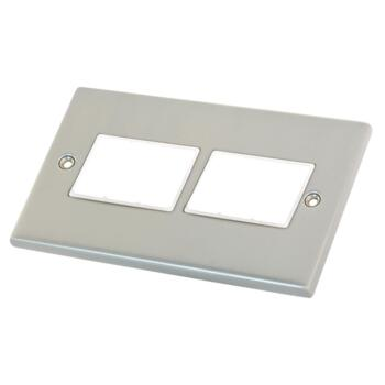 Satin Chrome & White Build Your Own Light Switch - 6 Gang Empty Plate