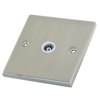Satin Chrome & White Co-Axial Television Socket - 1 Gang Single TV