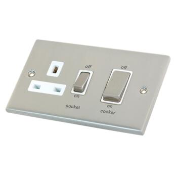 Satin Chrome & White Cooker Control Switch & Socket - Without Neon