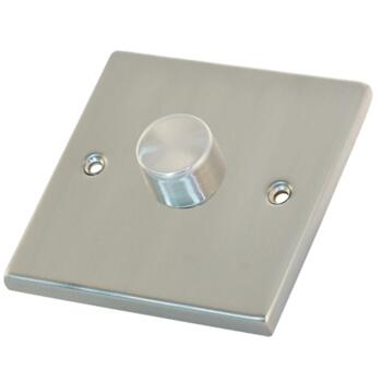 Satin Chrome & White Dimmer Switch - Single 1 x 400w