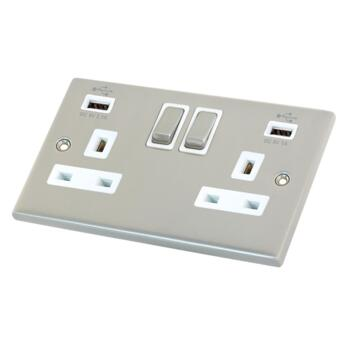 Satin Chrome & White Double Socket With USB Charger  - 2 Gang With USB