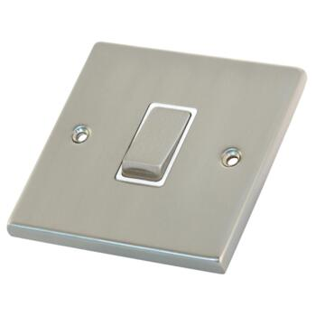 Satin Chrome & White Light Switch - 1 Gang 2 Way Single