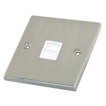 Satin Chrome & White Phone Socket  - Secondary / Slave