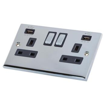 Polished Chrome & Black Double Socket With USB Charger  - 2 Gang With USB